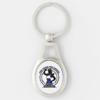 Anal Cancer Too Tough For Cancer Silver-Colored Oval Metal Keychain