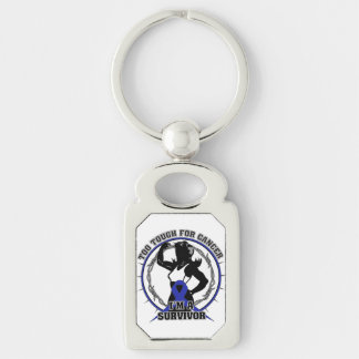 Anal Cancer Too Tough For Cancer Silver-Colored Rectangular Metal Keychain