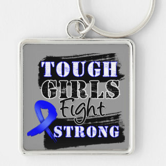 Anal Cancer Tough Girls Fight Strong Silver-Colored Square Keychain