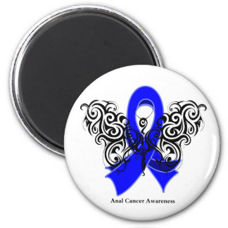 Anal Cancer Tribal Butterfly Ribbon Fridge Magnets