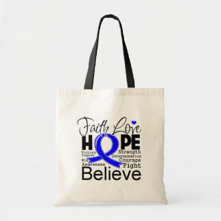 Anal Cancer Typographic Faith Love Hope Budget Tote Bag