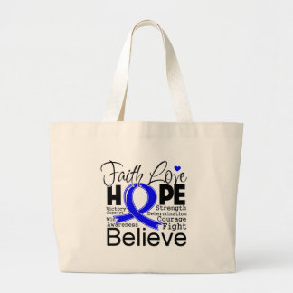 Anal Cancer Typographic Faith Love Hope Jumbo Tote Bag