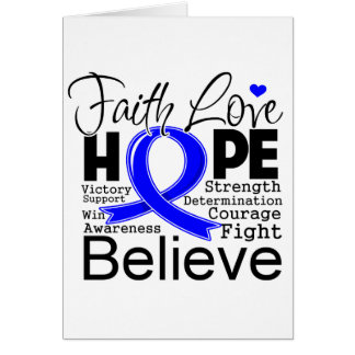 Anal Cancer Typographic Faith Love Hope Greeting Card
