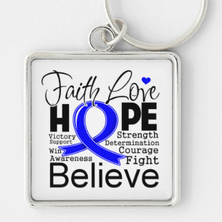 Anal Cancer Typographic Faith Love Hope Silver-Colored Square Keychain