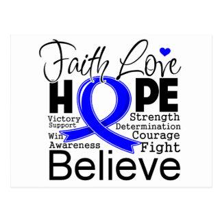 Anal Cancer Typographic Faith Love Hope Postcard