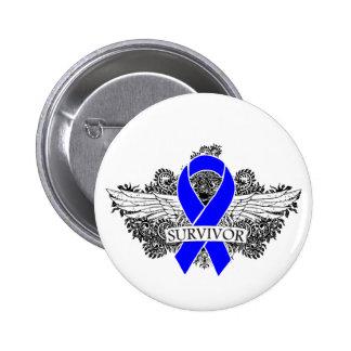 Anal Cancer Winged SURVIVOR Ribbon Button