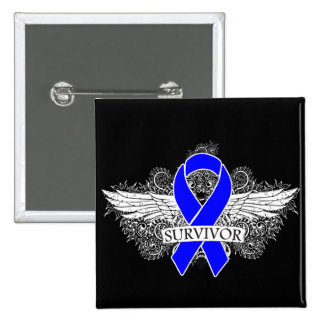 Anal Cancer Winged SURVIVOR Ribbon Buttons