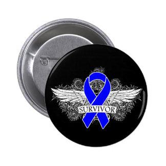 Anal Cancer Winged SURVIVOR Ribbon Pins