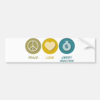 Análisis de crédito del amor de la paz etiqueta de parachoque