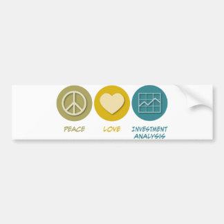Análisis de inversión del amor de la paz etiqueta de parachoque