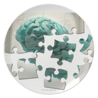 Análisis del cerebro, ilustraciones conceptuales d plato para fiesta