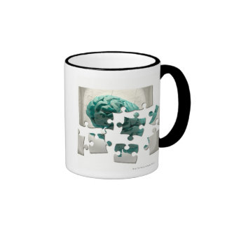Análisis del cerebro, ilustraciones conceptuales d taza