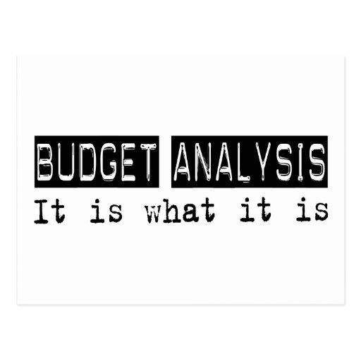 Análisis del presupuesto es tarjeta postal