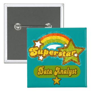 Analista de los datos de la superestrella pin cuadrada 5 cm