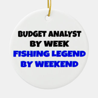 Analista del presupuesto de la leyenda de la pesca adorno navideño redondo de cerámica