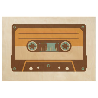 Analog Mix Tape Cassette Wood Poster