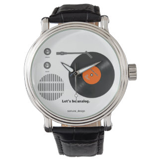 Analog record player wristwatch