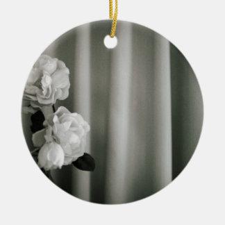 Analog to silver gelatin 35mm film photo of white  ceramic ornament