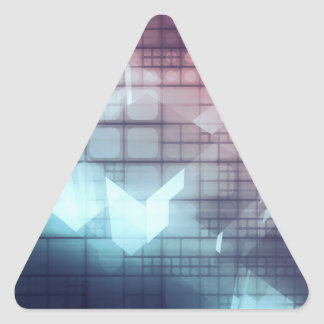 Analytics Technology with Data Moving Triangle Sticker