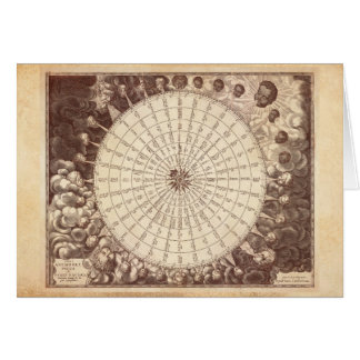 Anamorphic Wind Rose Engraving Card
