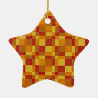 Anaranjado claro retro del estilo de los cuadrados adorno navideño de cerámica en forma de estrella