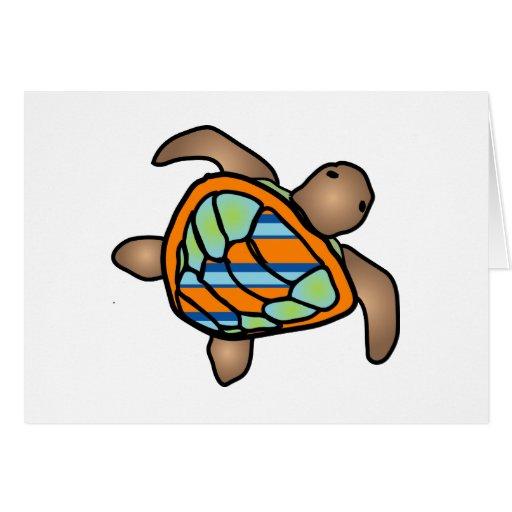 Anaranjado/verde/tarjeta azul de la tortuga