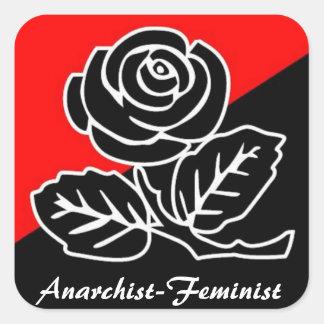 anarchist feminist square sticker