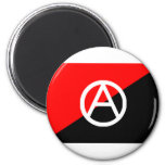 Anarchist flag with A symbol 2 Inch Round Magnet