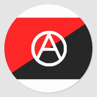 Anarchist flag with A symbol Classic Round Sticker