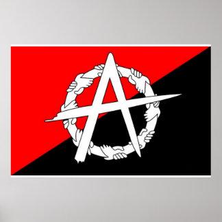 Anarchist hands flag poster