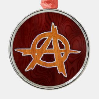 Anarchist Inlay Round Metal Christmas Ornament