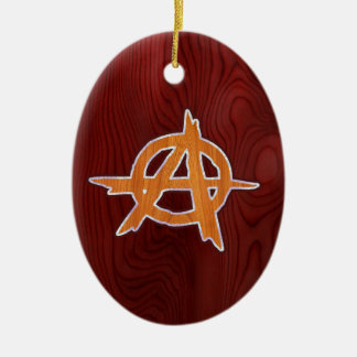 Anarchist Inlay Double-Sided Oval Ceramic Christmas Ornament