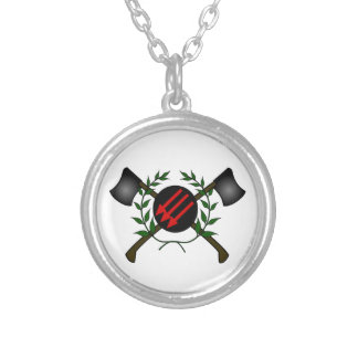 Anarchist Skinhead Communist Skin Head Red/Anarchy Silver Plated Necklace