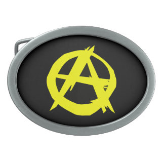 Anarcho Capitalism Black and Yellow Flag Belt Buckle