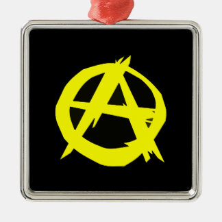 Anarcho Capitalism Black and Yellow Flag Square Metal Christmas Ornament