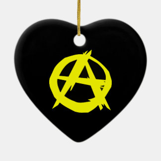 Anarcho Capitalism Black and Yellow Flag Double-Sided Heart Ceramic Christmas Ornament