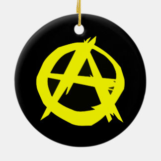 Anarcho Capitalism Black and Yellow Flag Double-Sided Ceramic Round Christmas Ornament