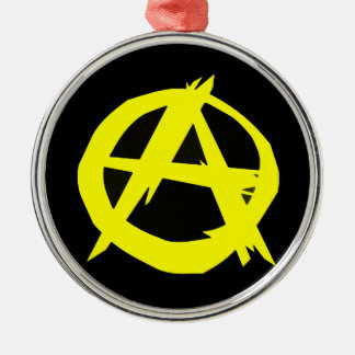 Anarcho Capitalism Black and Yellow Flag Round Metal Christmas Ornament