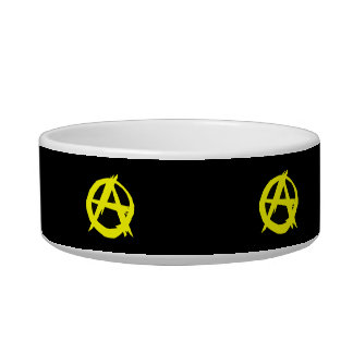 Anarcho Capitalism Black and Yellow Flag Cat Food Bowl