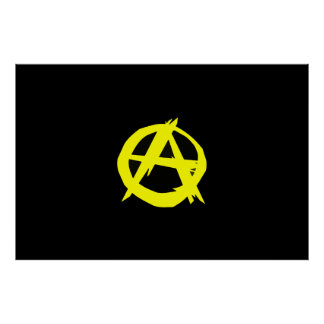 Anarcho Capitalism Black and Yellow Flag Poster
