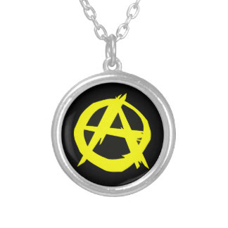 Anarcho Capitalism Black and Yellow Flag Silver Plated Necklace