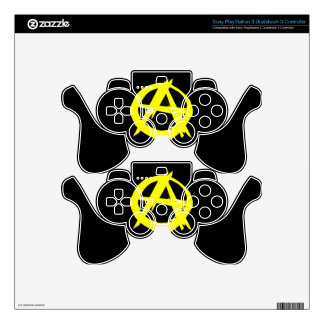 Anarcho Capitalism Black and Yellow Flag Skins For PS3 Controllers