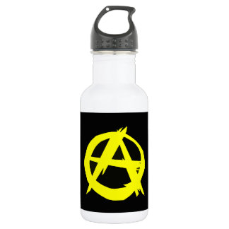 Anarcho Capitalism Black and Yellow Flag Water Bottle
