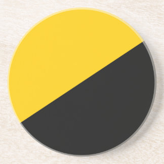 Anarcho Capitalist Black and Yellow Drink Coaster