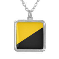 Anarcho Capitalist Black and Yellow Silver Plated Necklace