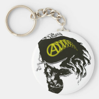 Anarcho Capitalist Tattered Flag with Lady Liberty Keychain