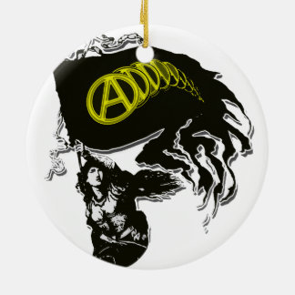 Anarcho Capitalist Tattered Flag with Lady Liberty Christmas Tree Ornaments