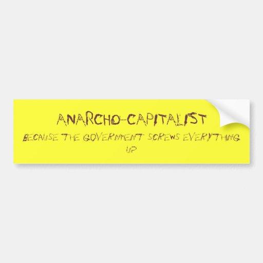 anarcho-capitalista pegatina para auto