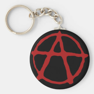 Anarchy Black t-shirt with red symbol Key Chains
