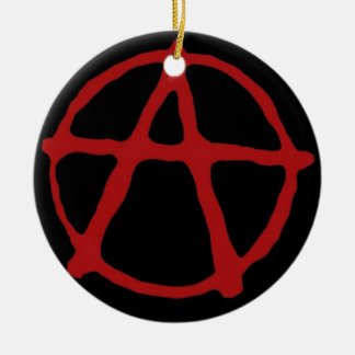 Anarchy. Black t-shirt with red symbol Christmas Tree Ornament